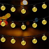 Solar Globe String Lights 30 LED 19.8ft Outdoor Crystal Ball Christmas Decoration Light Waterproof Solar Patio Lights Decorative for Xmas Tree Garden Home Lawn Wedding Party Holiday (2PACK-Warm White)