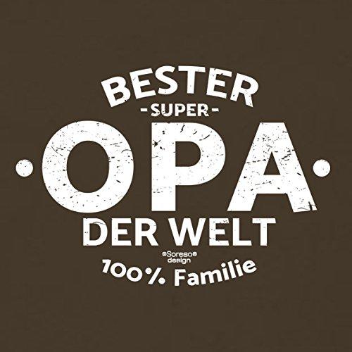 Herren Opa T-Shirt Geschenk Set mit Gratis Urkunde zum Opatag in Größen bis 5XL und Print Aufdruck Bester Opa der Welt Farbe: braun Gr: M