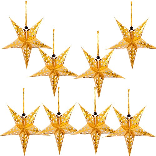 (Paper Star Lantern Lampshade Hanging Christmas Xmas Day Decoration For LED Light Wedding Birthday Party Home Decor 8 Pcs 28cm Hollow Out Design (Lights not included) (Gold))