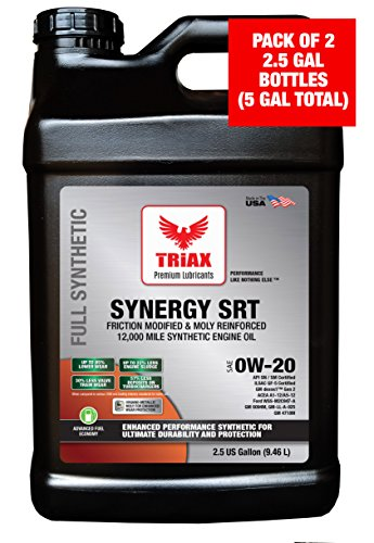 Triax API LICENSED - EXTREME SYNTHETIC SYNERGY SRT 0W-20 API SN Engine Oil - Pre-Boosted, Friction Modified & Optimized. Extended Drain (2.5 gallon (pack of 2))