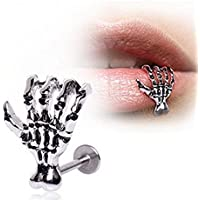 Ransopakul 1PC Fashion Stainless Steel Punk Skull Skeleton Hand Stud Labret Lip Chin Ring