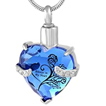 Always In My Heart Beautiful Crystal Pendant Cremation Urn Necklace Memorial Ashe Keepsake Jewelry