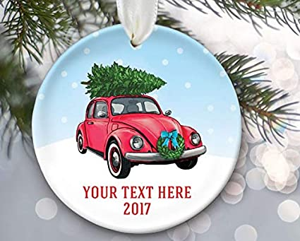 Enidgunter Volkswagen Beetle Ornament Vw Car with Christmas Tree On Top  Vintage Red Car Personalized Christmas - Amazon.com: Enidgunter Volkswagen Beetle Ornament Vw Car With