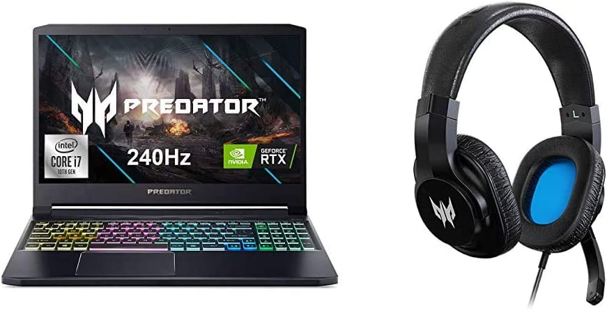 """Acer Predator Triton 300 Gaming Laptop, Intel i7-10750H, NVIDIA GeForce RTX 2070 Max-Q, 15.6"""" FHD 240Hz 3ms IPS Display, 16GB Dual-Channel DDR4, 512GB NVMe SSD with Gaming Headset"""
