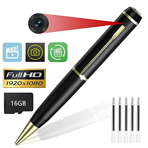 Hidden Pen Camera, Kimuvin 1080P HD Home Security Pen Camera with Video Voice and Photo Function, Built-in 16GB SD Card