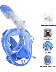 Unigear Full Face Snorkel Mask, Snorkeling Mask Free Breathing Wide 180° View Anti-fog Anti-leak with Detachable Camera Mount Earplugs Diving Mask for Adults and Kids