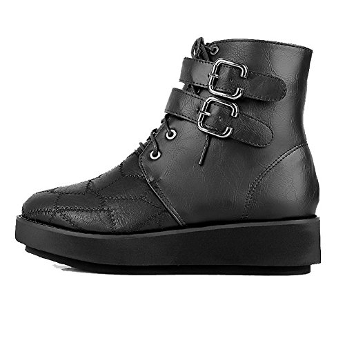 top Black Closed Women's Low Round AgooLar Low Heels Boots Toe Solid Zipper PU6qWSawE
