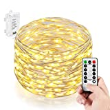 Homestarry Battery String Lights PRO 66 LED's, 16-Feet, Flexible Silver Wire Battery Operated, Waterproof Design with Wireless Remote Control, Warm White