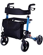 HTDZDX Elderly Walker Foldable Pulley and Seat Push Chair Blue Elderly Four Wheels Auxiliary Walker