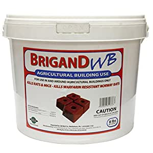 Brigand Wb Wax Blocks Agricultural Use Rodent Bait 8 Lbs Pail