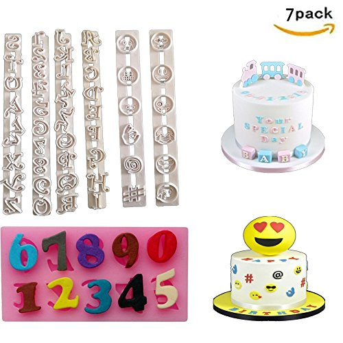 7Pcs DIY Cake Molds 3D Emoji Cookies Candy Chocolate Baking, Digital, Alphabet Moulds Decorating for Baby Kids Birthday - Cake Birthday Molds