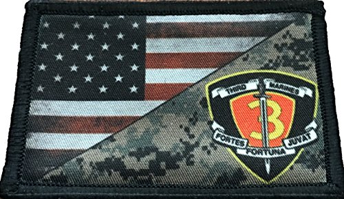 USMC 3rd Marines Division USA Flag Morale Patch Tactical Mil