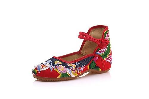 Lazutom - Zapatillas de estar por casa de Lona para mujer, color negro, talla 35 EU