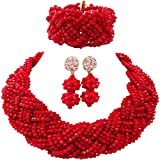 aczuv 12 Rows Crystal Beaded Plaits Necklace African Jewelry Set Nigerian Wedding Jewelry Sets