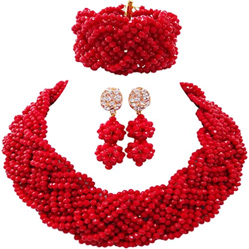 Plastic Beads Necklace Earrings - Lady Necklace Earrings Bracelet Custom Nigerian Wedding African Beads Bridal Jewelry Sets (Red)