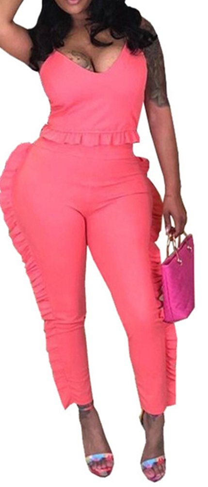 Speedle Sexy 2 Piece Tracksuits For Women Spaghetii Strap Crop + Ruffle Mesh Long Pants Set Peach M