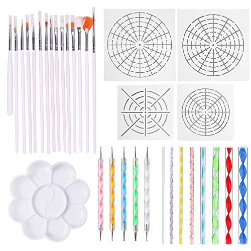 33 Pieces Dotting Tools for Nail Art, Mandala, Painting Rocks, Embossing Pattern, Clay Sculpting,Craft, Canvas and - Embossing Patterns