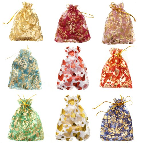 ILOVEDIY 100pcs in Bulk Mixed Color Drawstring Organza Gift Bags for Christmas Pouches Jewelry Bag (Christmas Gift Bags Bulk)