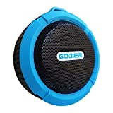 Godier Shower Speakers Waterproof Bluetooth Wireless Speaker with Suction Cup/ Built-in Mic/ Rechargeable Battery for PC Laptop Cellphone for Outdoor Sports Hiking with Stereo HD Sound-Sky Blue