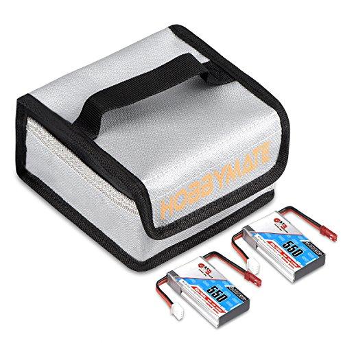 HOBBYMATE GNB 7.4V 550mAh 2S 80C Lipo Battery JST Plug W/Free Fireproof Lipo Bag - For Aurora 90 100 and similar FPV Drone - Pack of 2