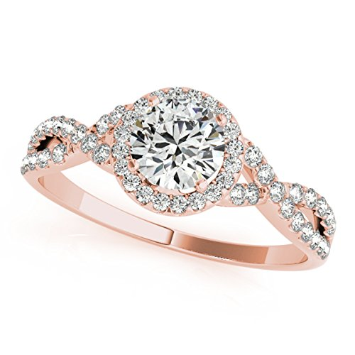 0.50 Carat Halo Diamond Engagement Ring 14K Solid Rose Gold