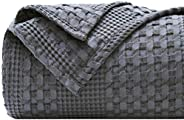 """PHF 100% Cotton Waffle Weave Blanket Queen Size 90""""x90"""" for Home Decorations - Textured, Breathable,"""
