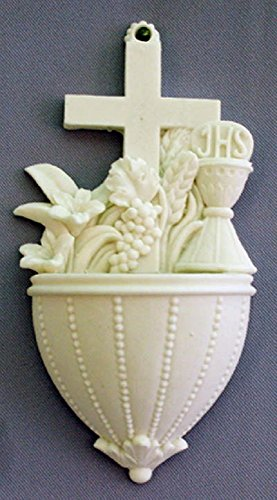 GSV001 A beautiful Communion Font with Lilies and Chalice in white alabaster, 5.5inches. Made in Italy. by GSV001