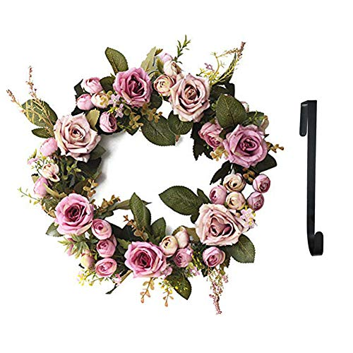 SunriseMall 13 Inch Handmade Wreath, Floral Artificial Simulation Flowers Garland, European Door Ornament, with 1pcs Wreath Hook, for Home Party Decor (13 Inch Purple)