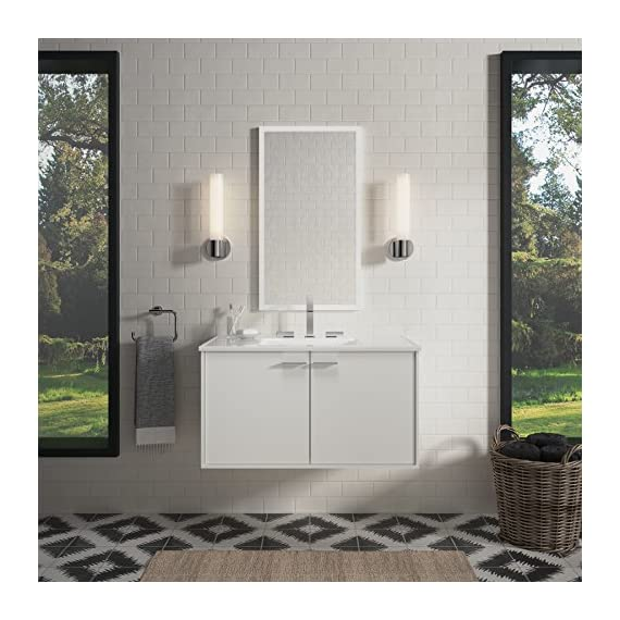 KOHLER K-99542-1WA Jute Vanity with 2 Doors, 36-Inch, Linen White - Combines with Solid/Expressions(TM) and Ceramic/Impressions(TM) vanity tops (sold separately) for a complete vanity Frameless construction with full-overlay doors Three-way adjustable slow-close door hinges with 110-degree opening capability for easy cabinet access - bathroom-vanities, bathroom-fixtures-hardware, bathroom - 51GWwPR tKL. SS570  -