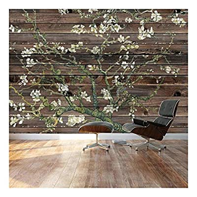 Almond Blossom by Vincent Van Gogh Floral Painting on a Horizontal Brown Wood Paneled Background Wall Mural, Professional Creation, Marvelous Creative Design