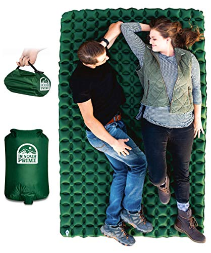 affordable In Your Prime Double Sleeping Pad for Camping  Backpacking + Multi use Pump Sack  Carabiner! Compact  Waterproof for Tent, Hiking, Truck or Beach- Fast Inflatable Sleeping mat
