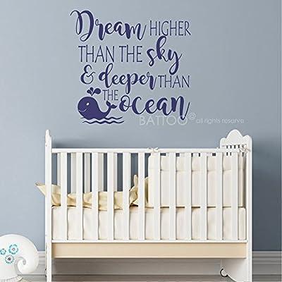"BATTOO Dream Higher Than The Sky and Deeper Than The Ocean - Nursery Wall Quote Decals Nautical Nursery Kids Decor Art Vinyl Sticker(Dark Blue, 38""WX36""H): Baby"