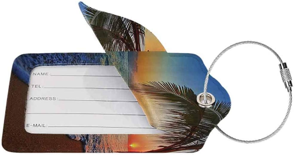Personalized luggage tag Hawaiian Decor Palm Tree Shore Caribbean Mist Honeymoon Traveling Resort Scenic Sunset Image Easy to carry Blue and Ivory W2.7 x L4.6