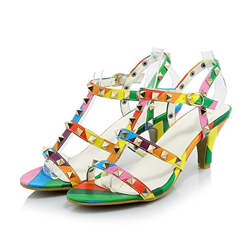 Amoonyfashion Donna Tacco Alto In Pelle Con Fibbia Aperta Multicolore