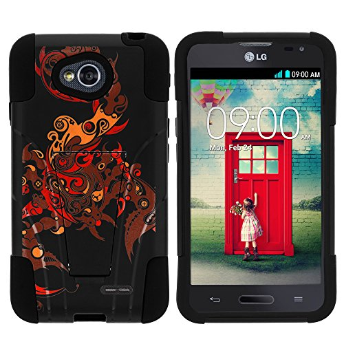 MINITURTLE Case Compatible w/ LG Ultimate 2 Phone Case, Durable Hybrid STRIKE Impact Stand Case w/ Art Pattern Designs for LG Optimus L70 MS323, LG Optimus Exceed 2 VS450PP, LG Ultimate 2 L41C from MINITURTLE Scorpion Soul