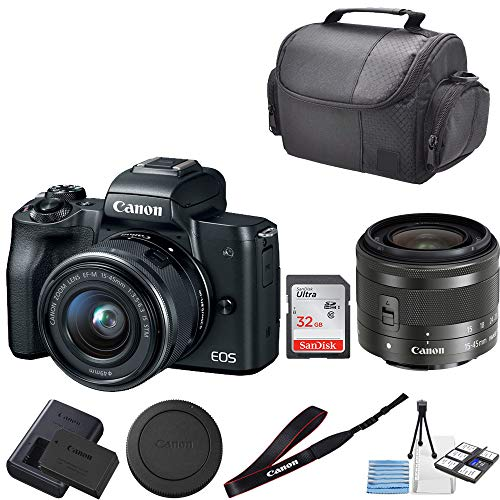CanonEOS M50 Mirrorless Digital Camera with 15-45mm Lens + 32GB SanDisk Memory + Professional Carrying Case + Camera Deluxe Starter Kit