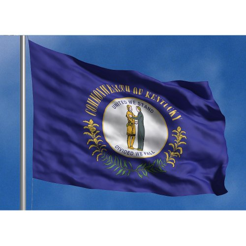 Kentucky State Flag - Allied Flag - 3' x 5' Outdoor Nylon Kentucky State Flag - Made in USA - Vivid Color and Fade Resistant - Reinforced Hem and Brass Grommets