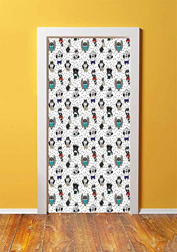 Superhero 3D Door Sticker Wall Decals Mural Wallpaper,Animal Owl Dear Fox Cat Penguin Raccoon Bear in Superhero Costumes Print,DIY Art Home Decor Poster Decoration 30.3x78.6475,White Seal Brown -