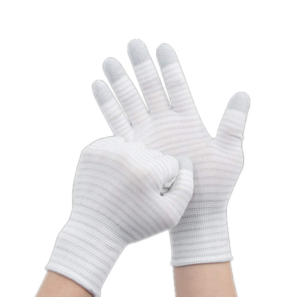 LZRZBH (White 10 Pairs Industrial Gloves,Anti-Slip Rubber Ladies,Resistant Work Gloves, Thin Section,Anti-Static Gloves, Labor Insurance