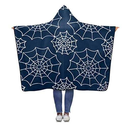 InterestPrint Halloween Spider Web Hooded Throw Blanket 80 x 56 inches Adults Girls Boys Wearable Polar Fleece Blankets (56 Halloween Spider)