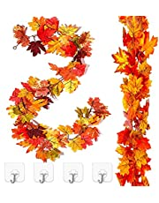 2 Pack Fall Maple Garland 5.8Ft/Piece Artificial Fall Foliage Garland Hanging Leaves Vines Autumn Thanksgiving Fall Decor for Home Wedding Party Christmas