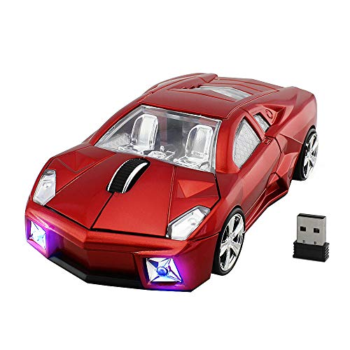Wireless Car Mouse, FIRSTMEMORY 2.4G Cool Sport Race Car Shaped Mouse Wireless Optical Car Computer Mouse,1600 DPI for PC Laptop Desktop Mac (Red) ()