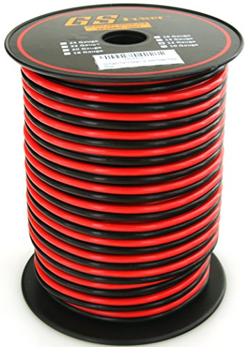 GS Power's True 12 Gauge (American Wire Ga) 100 feet 99.9% OFC stranded oxygen free copper, Red / Black 2 Conductor Bonded Zip Cord Power / Speaker Cable for Car Audio Amplifier, Home Theater, Robotic (Volt 100' Cord)
