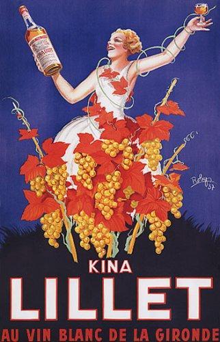 Lillet Kina Wine Grapes Girl Vintage Poster Repro