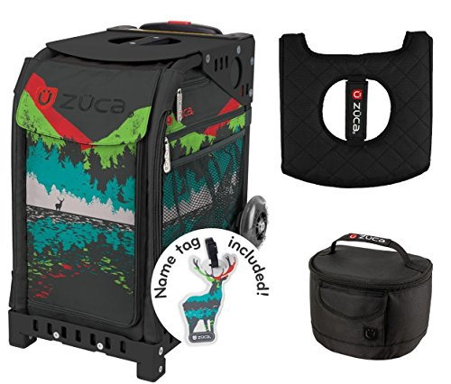 Zuca Sport Bag - Into the Woods with Gift Lunchbox and Seat Cover (Black Non-Flashing Wheels Frame) by ZUCA
