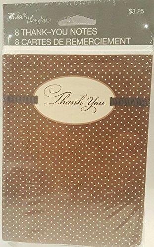 Tender Thoughts Thank You Notes Brown Polka Dots 8 Cards and Envelopes NIP (Polka Note)