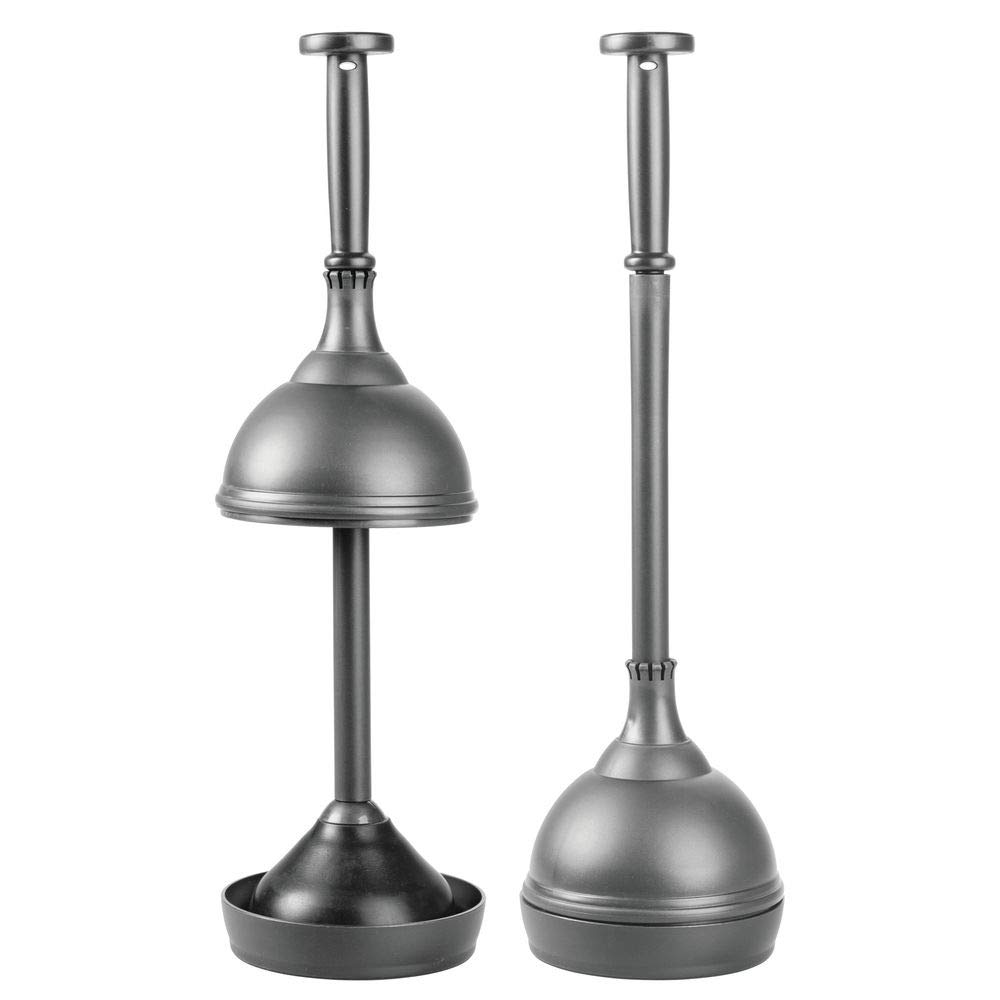 mDesign Plastic Bathroom Toilet Bowl Plunger Set with Lift & Lock Cover, Compact Discreet Freestanding Storage Caddy with Base, Sleek Modern Design - Heavy Duty, 2 Pack - Charcoal Gray by mDesign