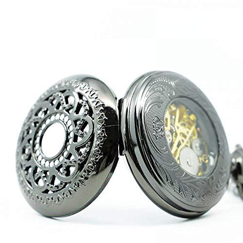 ZJZ Vintage fickur Vinatge brons ihålig blomma handvind mekanisk vintage fickur med kedja