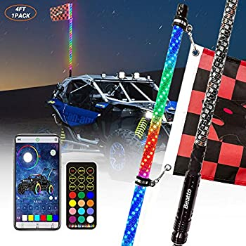 1 PCS ZGAUTO 4FT 360 /° Spiraling Rising LED Whip Light Remote Control /& Bluetooth Sync Controlled with Music Mode for Offroad Jeep Polaris RZR UTV ATV Sand Dune Buggy Quad Truck Boat