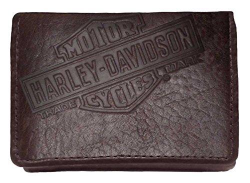 Harley-Davidson Mens American Bison Classic Tri-Fold Wallet, Brown US1836L-BRWN